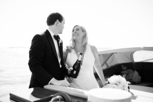 Bay Head Yacht Club New Jersey Wedding Bride and Groom on boat champagne toast ©Jessica Hendrix Photography 2016