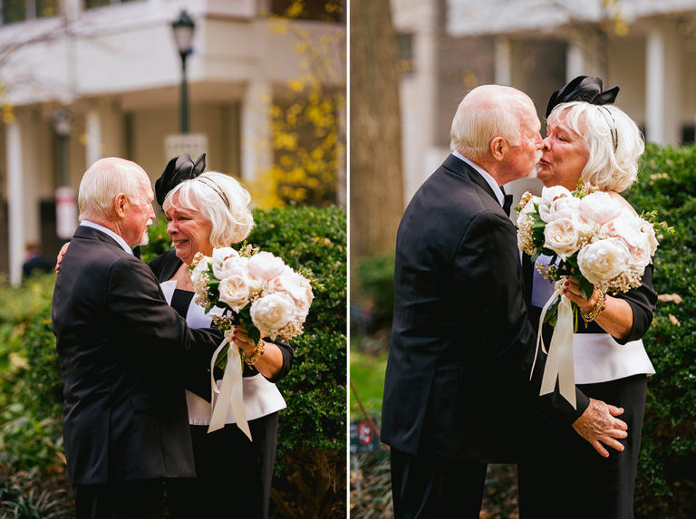 bride and groom found each other later in life