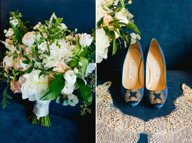 white and green bridal bouquet blue velvet blue manolo blahnik pumps crystal beaded bridal cape